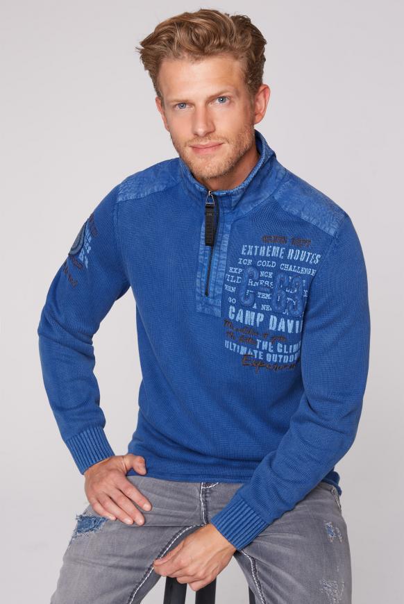 Troyer-Pullover mit Twill-Besätzen cobalt