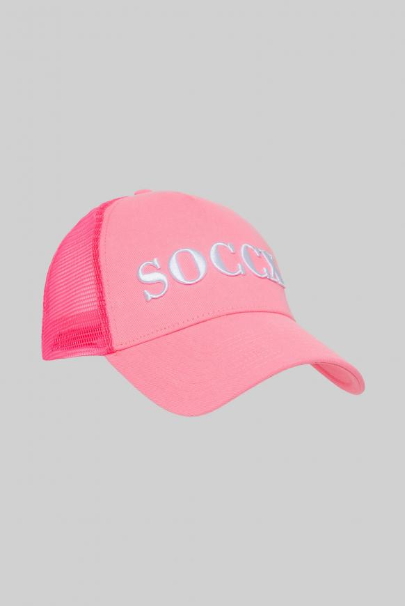 Trucker Cap mit 3D-Logo-Stickerei neon rosa