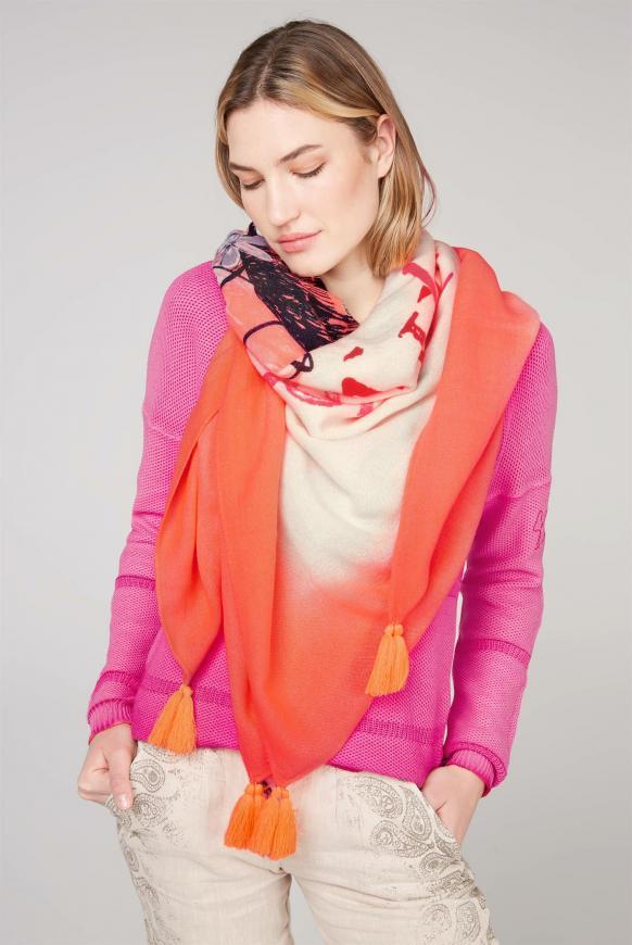 Tuch mit Dip-Dye-Effekt und Print spicy orange