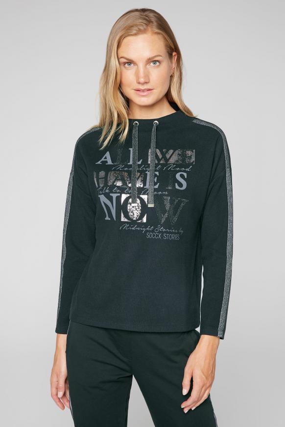 Turtleneck-Sweatshirt mit Artwork black