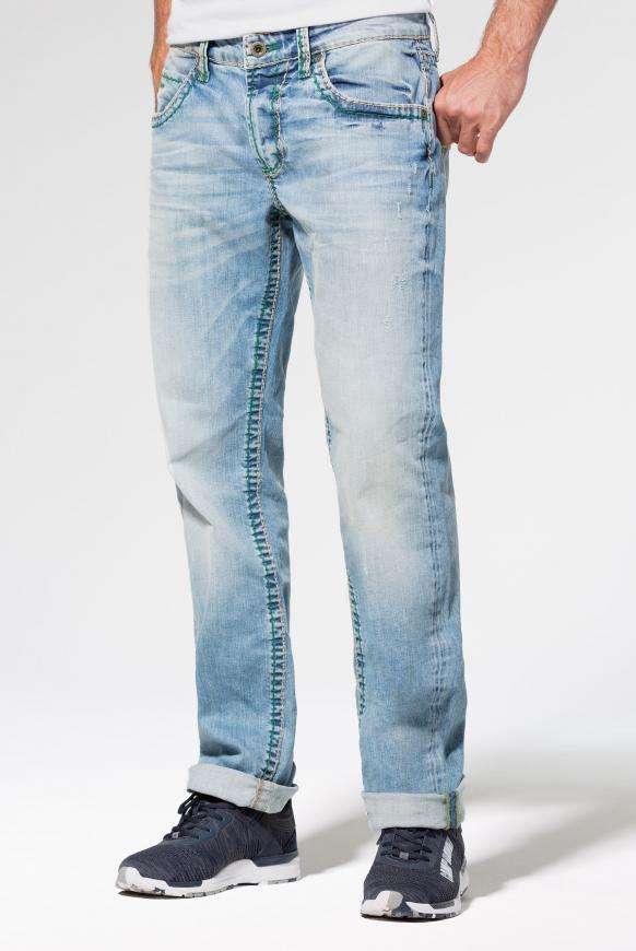 Vintage Look mit breiten Nähten Jeans NI:CO light vintage used