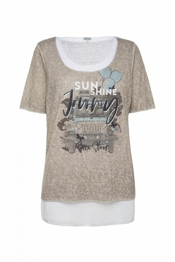 2-in-1 Layering Shirt mit Artwork pale sand