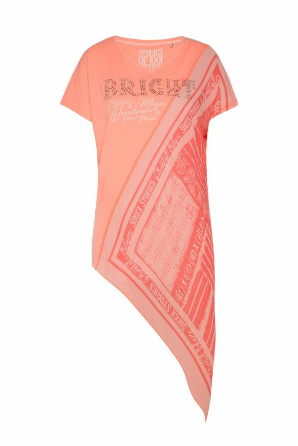 Asymmetrisches T-Shirt im Materialmix spicy orange
