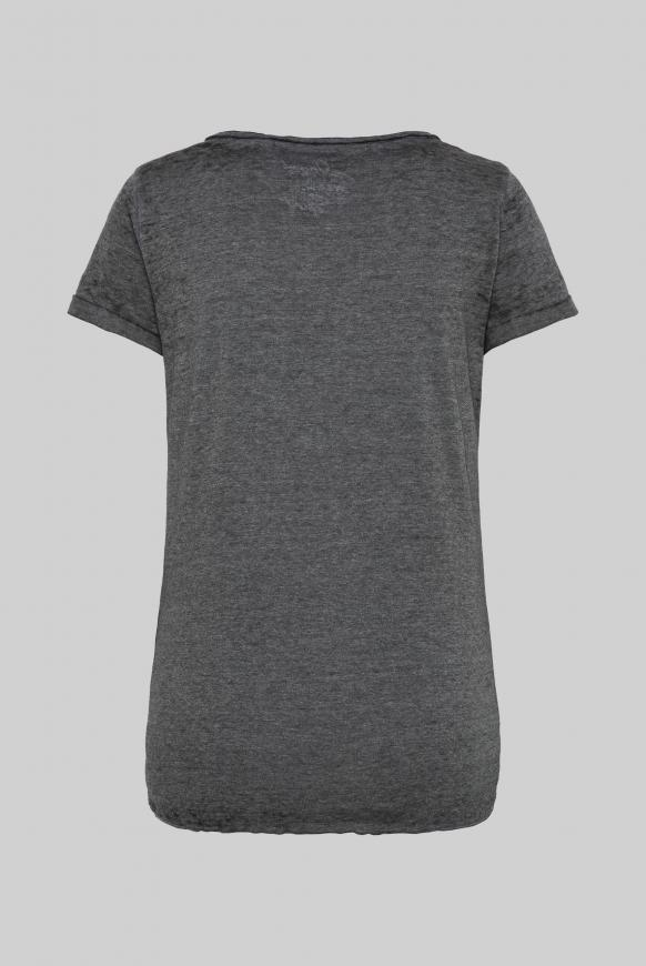 Ausbrenner-Shirt mit Knotensaum und Print black