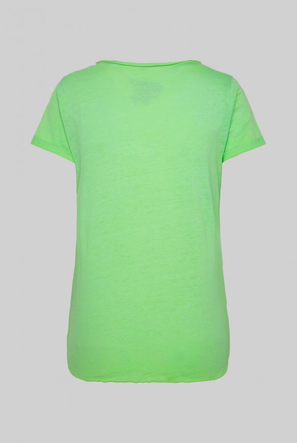 Ausbrenner-Shirt mit Knotensaum und Print lemon drop