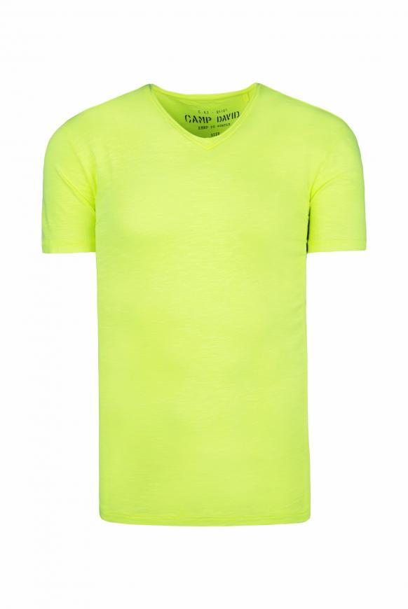 Basic T-Shirt mit V-Ausschnitt neon lime