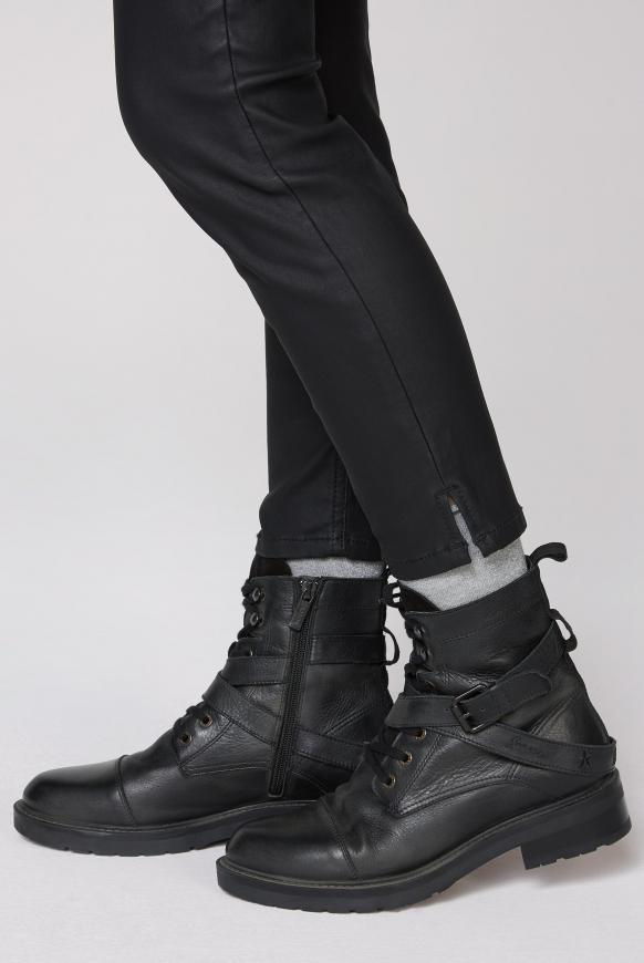 Biker Boots aus Leder mit Schnallen-Detail black