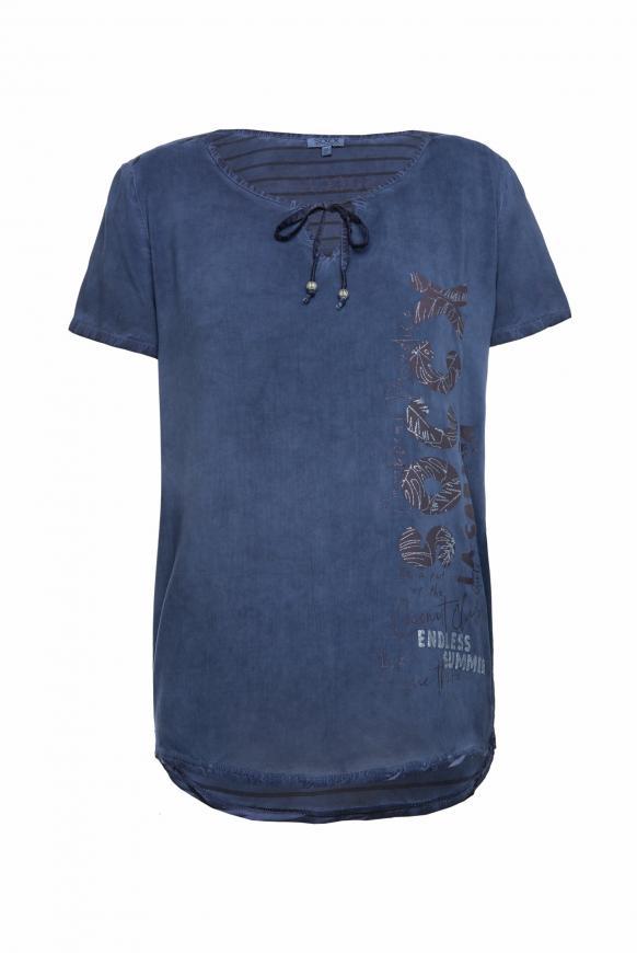 Blusenshirt mit gestreifter Rückseite moroccan blue