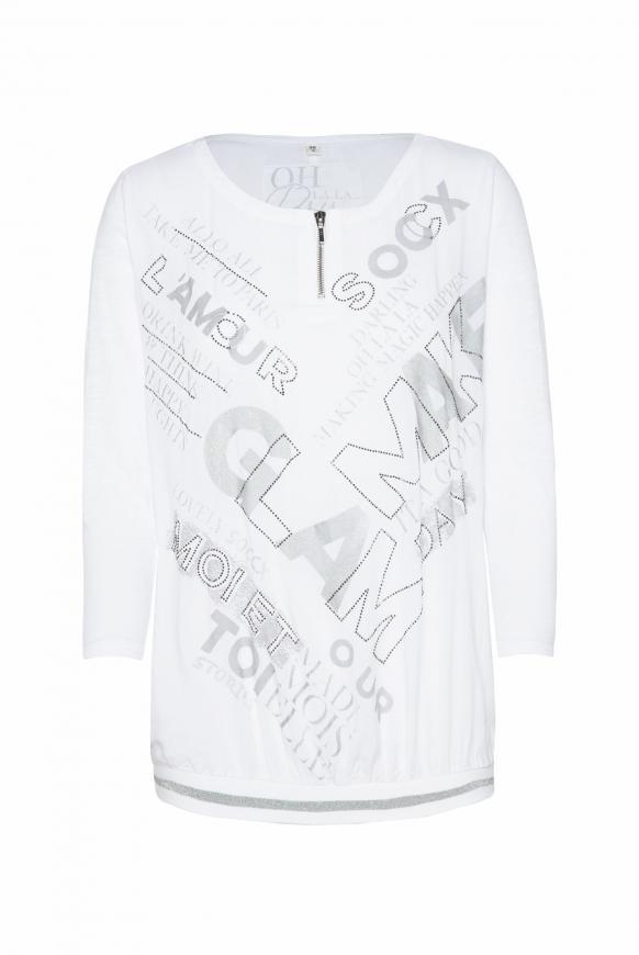 Blusenshirt mit Wording Print und Zipper opticwhite