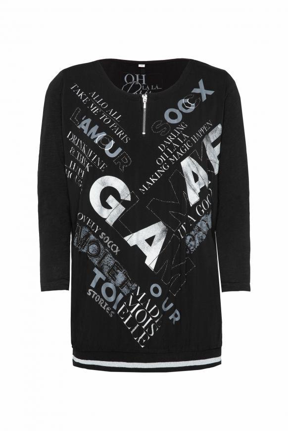 Blusenshirt mit Wording Print und Zipper black