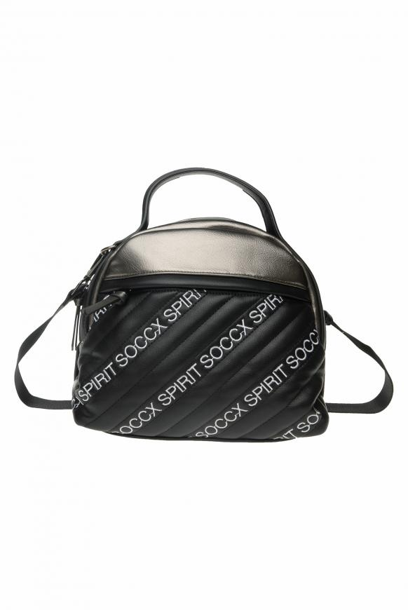 Bowling Bag mit gesteppter Front und Logos black