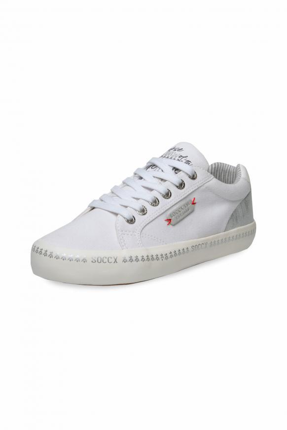 Canvas Sneaker mit bedruckter Sohle white