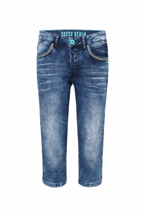 Capri Jeans LY:LI mit Taschen-Stitchings ocean blue