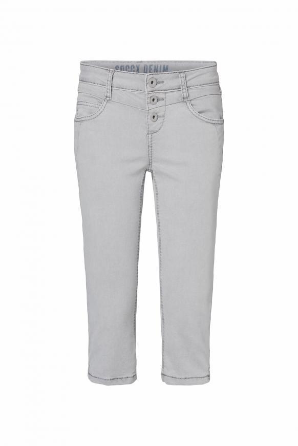 Coloured Capri Jeans LY:IA mit Knopfleiste light grey