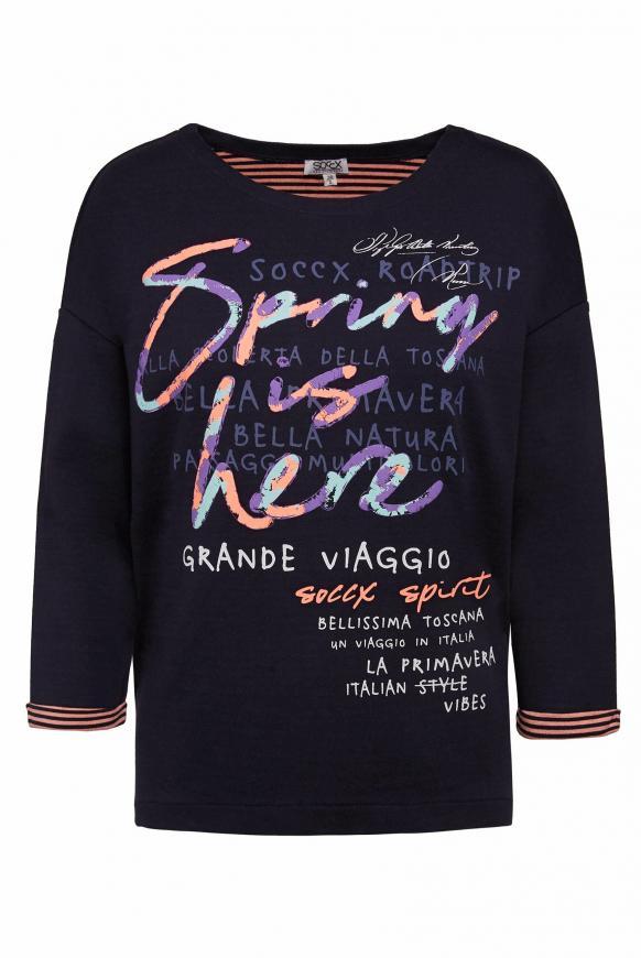 Doubleface Sweatshirt mit Frontprint dark blue