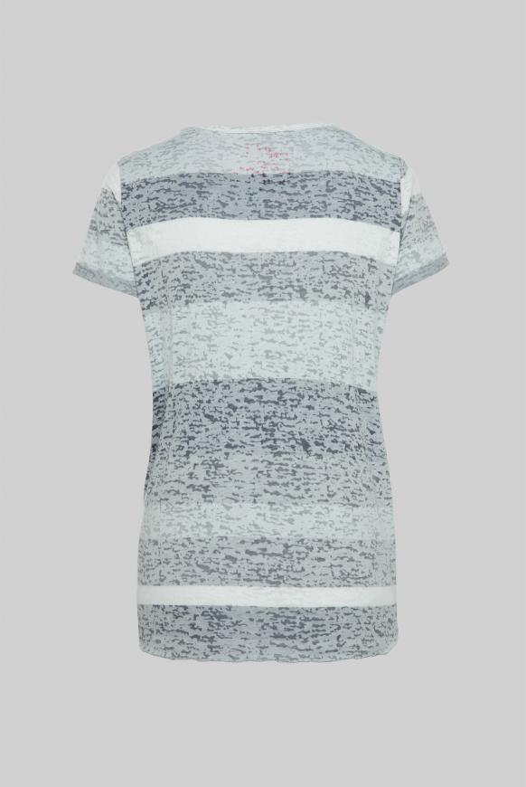 Gestreiftes Ausbrenner-Shirt mit Glitter Artwork black