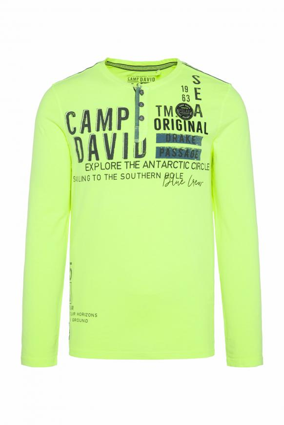 Henley-Langarmshirt mit Artworks neon lime