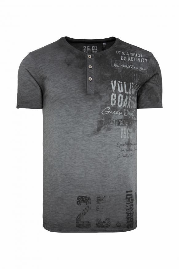 Henley-Shirt im Vintage Look mit Artwork black