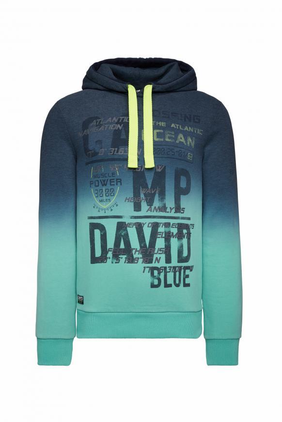 Hoodie mit Farbverlauf und Frontprint blue navy