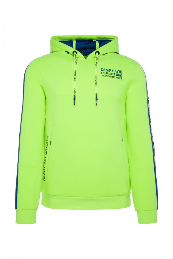 Hoodie mit Logo-Tapes und Colourblock neon yellow
