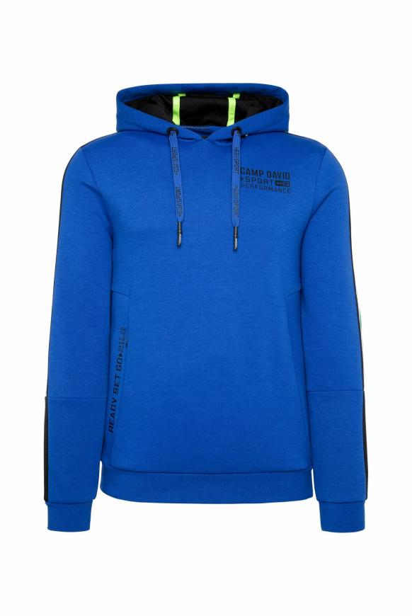 Hoodie mit Logo-Tapes und Colourblock urban blue