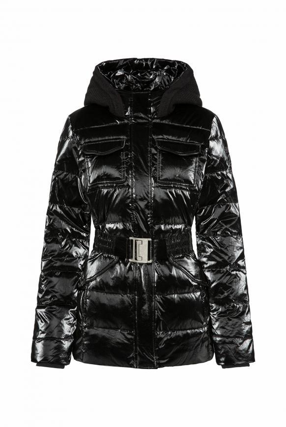 Jacke mit Strickkapuze und Taillengürtel black