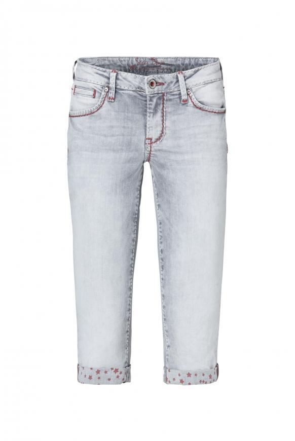 Jeans Bermudas RO:MY mit bedruckter Innenseite grey used printed