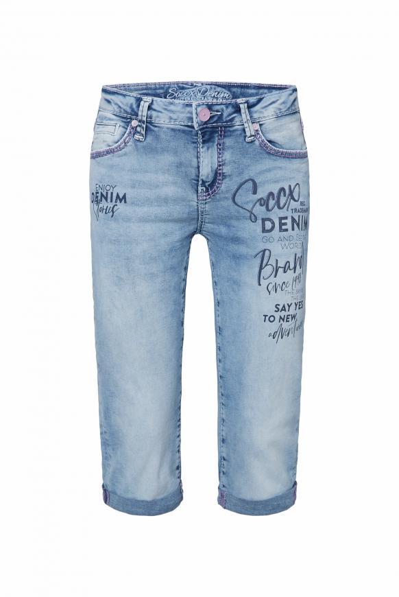 Jeans Bermudas RO:MY mit Wording Print light blue wash