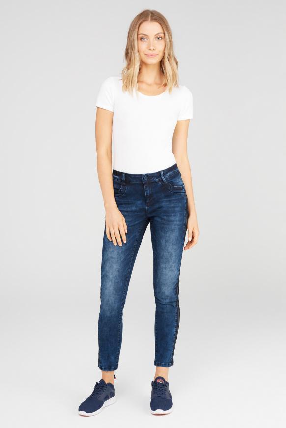 Jeans DA:NA mit Seitentape random dark blue