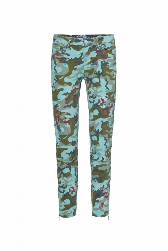Jeans EL:LA mit Musterprint und 3D-Shape am Knie camou aqua