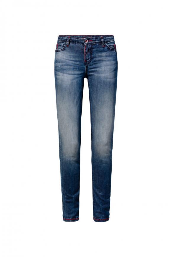 Jeans HE:DI mit farbigen Steppnähten und Used-Optik dark blue vintage