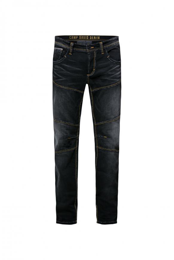 Jeans HE:RY im Vintage Look mit Biker-Elementen dark grey used