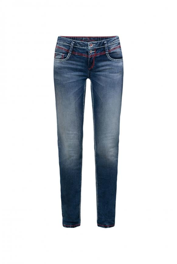 Jeans KA:RA mit Used-Waschung und farbigen Nähten dark blue vintage