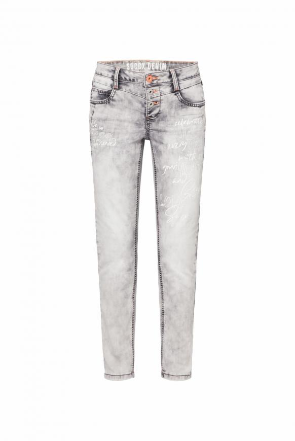 Jeans MI:RA Acid Washed mit Prints grey used