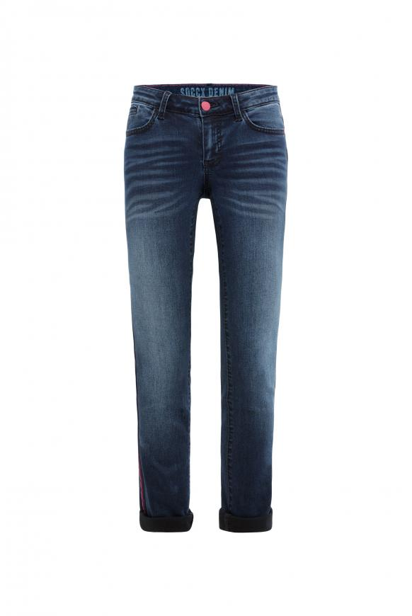 Jeans RO:MY mit Moustache-Effekten und Seitentape dark blue stripe