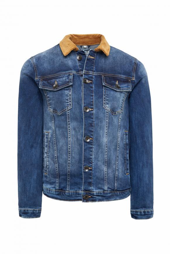 Jeansjacke mit Used Look und Cordkragen dark blue used