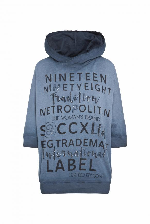 Kapuzensweatshirt Inside Oil Dyed tinted blue