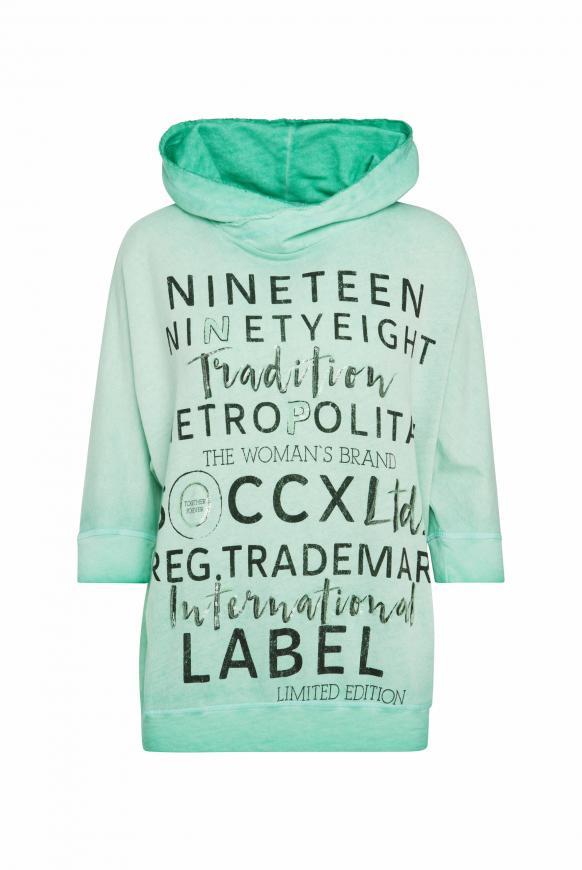 Kapuzensweatshirt Inside Oil Dyed neo-aqua