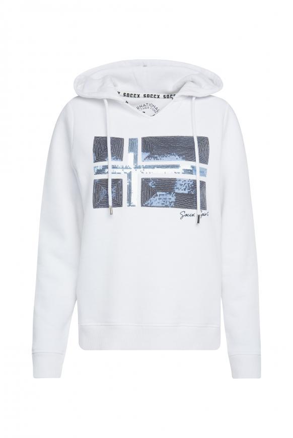 Kapuzensweatshirt mit Pailletten-Artwork opticwhite