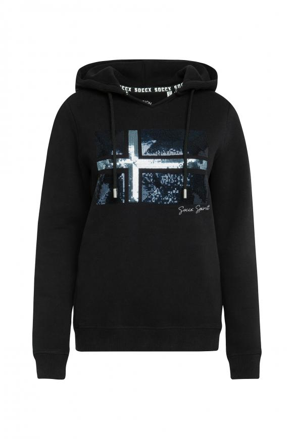 Kapuzensweatshirt mit Pailletten-Artwork black