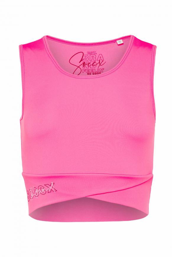 Kurzes Sporttop mit Logo Print knockout pink
