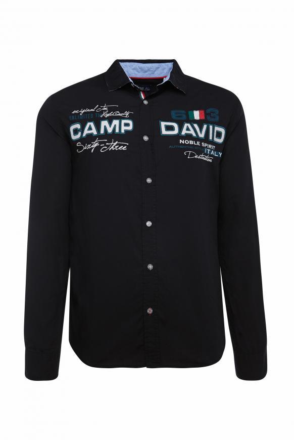 Langarmhemd mit Artworks, Regular Fit black