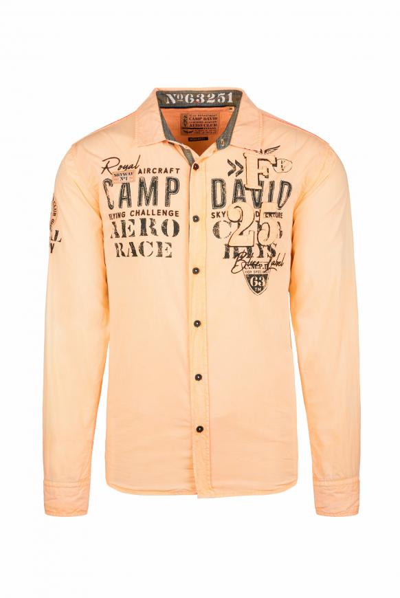 Langarmhemd mit Label-Applikationen sunrise neon