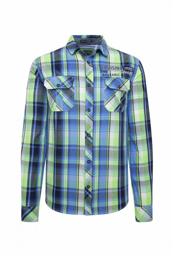 Langarmhemd mit Neon-Karo und Taschen neon green