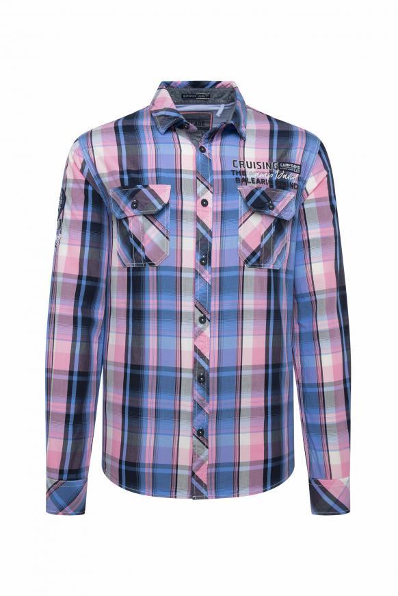 Langarmhemd mit Neon-Karo und Taschen neon pink