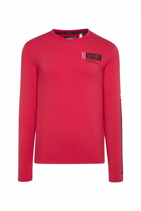 Langarmshirt mit Logo-Applikationen bright red