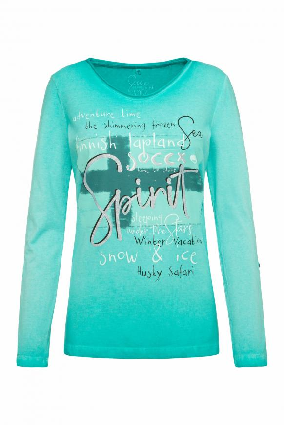 Langarmshirt Oil Dyed mit Artwork icy aqua