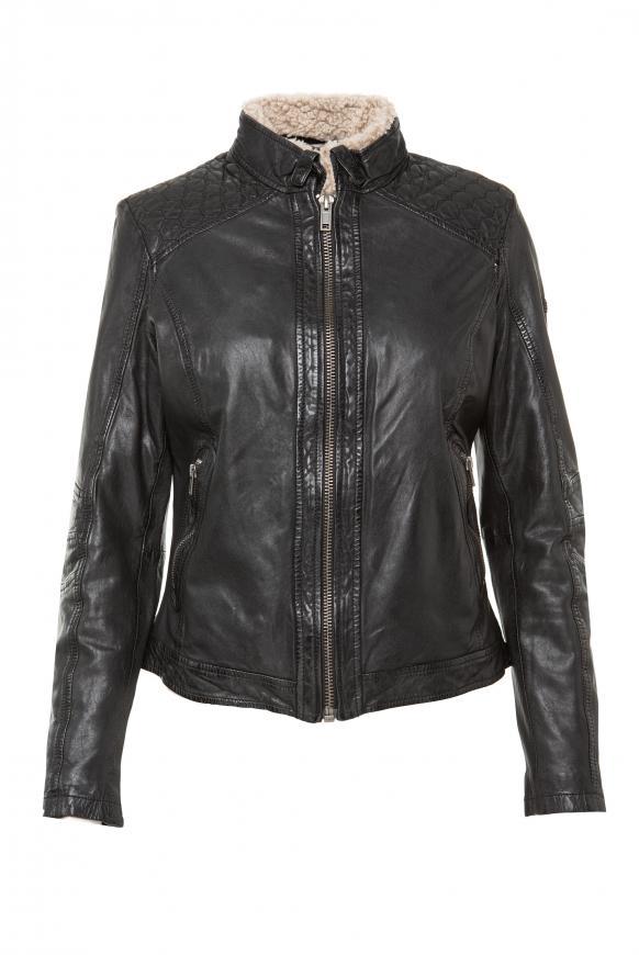 Lederjacke im Vintage Look mit Fake Fur black