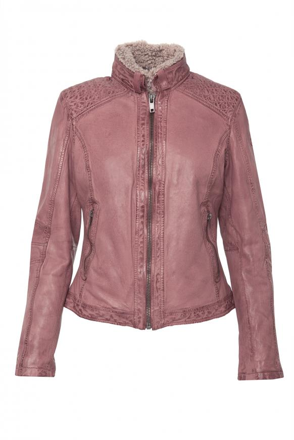 Lederjacke im Vintage Look mit Fake Fur foggy rose