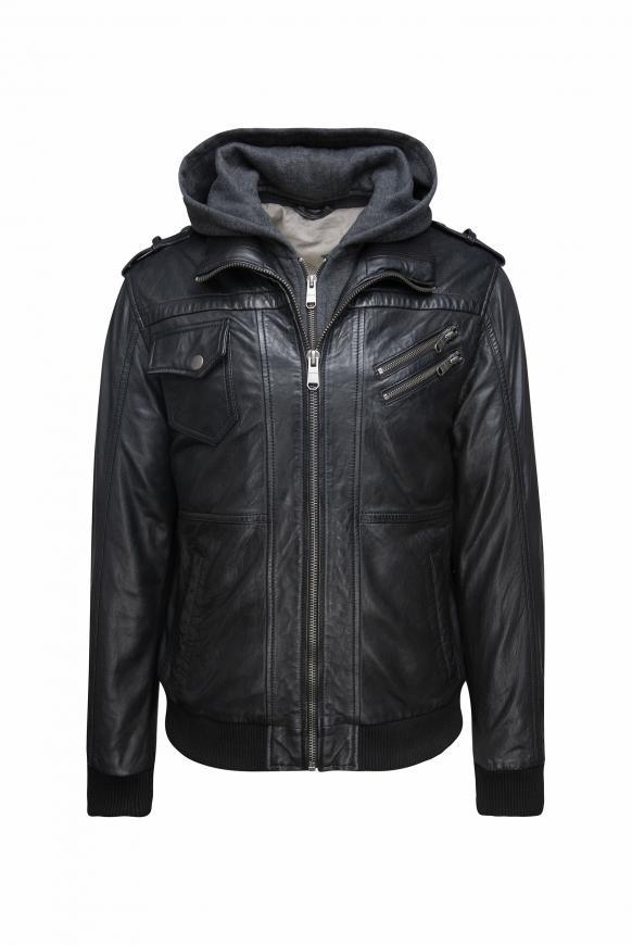 Lederjacke mit Taschen und Kapuzen-Einsatz black